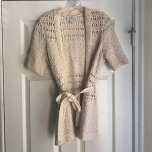 Ann Taylor Loft cream belted sweater knitted